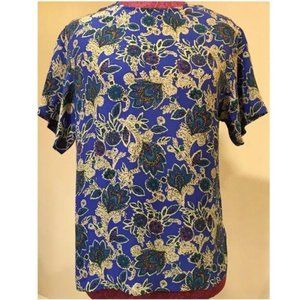 Vtg First Issue Top Sz XS Floral 100% Silk 80s 90s